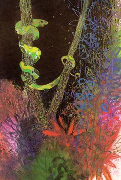Python's Party written & illustrated by Brian Wildsmith, 1974 Graphic Design Illustration, Graphic Art, Illustration Art, Book Illustrations, Animal Drawings, Pet Birds, Photo Art, Chameleons, Lizards