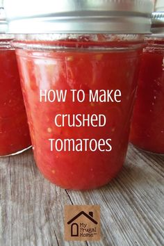 How to Make Crushed Tomatoes Homemade Crushed Tomatoes Source by . Crushed Tomato Recipe, Canning Crushed Tomatoes, Homemade Tomato Juice, Veggie Recipes, Freezer Recipes, Veggie Food, Pork Recipes, Pasta Recipes, Salad Recipes