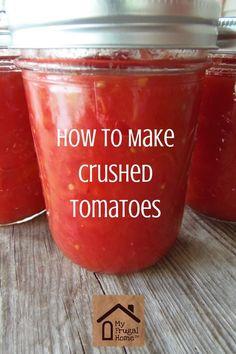 How to Make Crushed Tomatoes Homemade Crushed Tomatoes Source by . Crushed Tomato Recipe, Canning Crushed Tomatoes, Canning Recipes, My Recipes, Favorite Recipes, Freezer Recipes, Pork Recipes, Salad Recipes, Homemade Tomato Juice