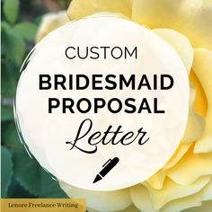 "Bridesmaid Proposal Letter -- ask you best friends to stand with you at your wedding with this custom written ""will be you be bridesmaid"" letter. Written by a professional writer and certified wedding planner. Wedding Thank You, On Your Wedding Day, Matron Of Honor Speech, Proposal Letter, Best Man Speech, Bride Sister, Custom Writing, Bridesmaid Proposal"