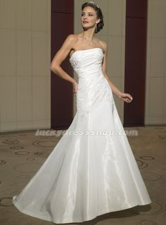 Maybe! White Mermaid/Trumpet Strapless Chapel Train Garden/Outdoor Wedding Dress With Appliques (MW537A)-LuckyDressShop.com
