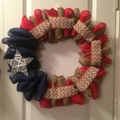 Patriotic burlap wreath, red, white, brown with chevron ribbon and painted grapevine star