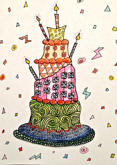 Zentangle-Inspired Birthday Card using tangle patterns Keeko, Clove, and Sandswirl. #zentangle #zia #doodles