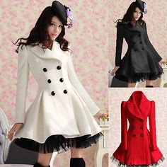 40$.     Fashion Womens Slim Fit Wool Double Breasted Lace Trench Warm Coats Dress Jacket
