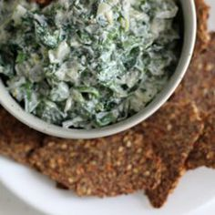 For the dip: 1 pound spinach, tough stems discarded 1 tablespoon extra-virgin olive oil 1/2 cup finely chopped onion 1 1/2 cups Greek yogurt...