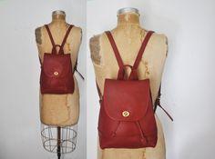 Red COACH Backpack Bookbag / Leather bag by badbabyvintage on Etsy