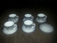 1950's Modern Zebra Gefle Upsala Ekeby Set of 5 Cups Saucers and 1 Extra Sauce | eBay