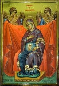 "So glad Mary was pro-life! ""Blessed art thou among women, and blessed is the fruit of thy womb, Jesus"". Mama Mary, Mary I, Byzantine Icons, Byzantine Art, Blessed Mother Mary, Blessed Virgin Mary, Religious Icons, Religious Art, Jesus Jose Y Maria"