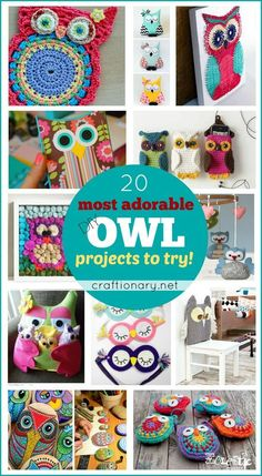 Whether you love to crochet owl, craft owl, DIY owl, sew owl or make owls with fabric, felt, paper and more... You are sure to love the most adorable owls.