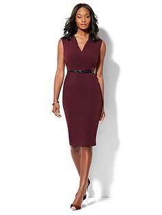 Shop 7th Avenue Design Studio - Modern Fit - Belted Sheath Dress - Burgundy…