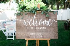 Welcome to our beginning, Wedding welcome sign, Wooden Welcome Sign, Welcome sign for wedding, Wooden Welcome Sign, wood weddign signs by ChalkinHand on Etsy https://www.etsy.com/listing/268357247/welcome-to-our-beginning-wedding-welcome