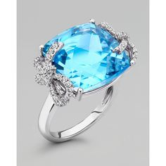 Kiki McDonough Diamond Bow 18k Gold Blue Topaz Ring ($4,330) ❤ liked on Polyvore featuring jewelry, rings, accessories, blue, anillos, engagement rings, gold band ring, yellow gold diamond ring, diamond cocktail rings and 18k gold ring
