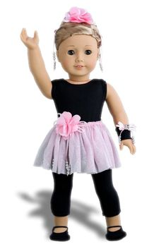 Show Time - Black unitard, pink tutu skirt, ballet slippers, corsage, hair piece and wristband - 18 Inch American Girl Doll Clothes