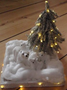 Family of polar bears at Christmas