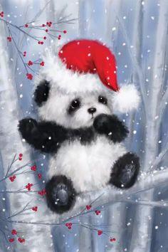 Christmas Panda, Christmas Rock, Christmas Animals, Vintage Christmas, Christmas Time, Christmas Crafts, Xmas, Illustration Noel, Christmas Illustration
