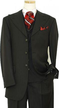 Masteloni Collection Solid Black Super 150'S Vested Suit 8001
