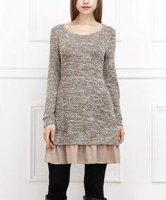 Look at this #zulilyfind! Beige & Pink Layered Sweater Dress #zulilyfinds