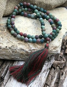 Mala made of 108, 8 mm - 0,315 inch, very beautiful frosted jasper gemstones.    The Mala has a total length of approximately 89 cm - 35.04 inch.