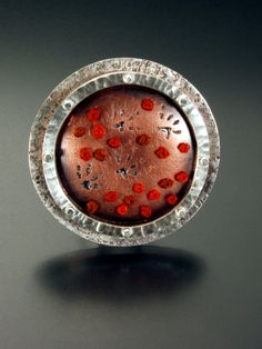 Brooch | Lynette Andreasen. 'Squirell' sterling silver, copper, embroidery.