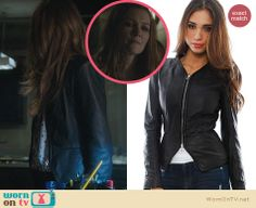 Abby's leather peplum jacket on Scandal. Outfit Details: http://wornontv.net/23978 #Scandal
