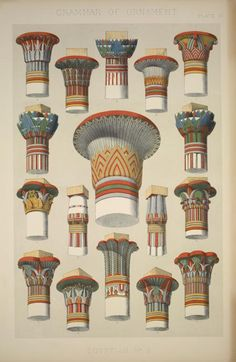 """Egyptian captials of columns, showing the varied applications of the lotus and papyrus. From """"The Grammar of Ornament"""" Owen Jones (1856)"""