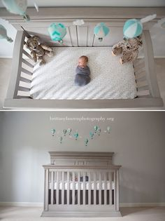 Newborn baby in the crib. Wide angle shot of newborn in crib. Cool balloons for newborn nursery. Creative newborn session at home. Lifestyle newborn session.  Brittany Lauren Photography | Charlotte newborn photographer