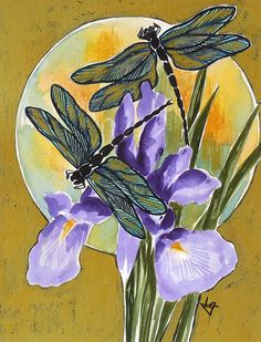 Image result for japanese dragonfly paintings watercolor
