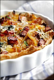 Onion Pie with Lavender, Bacon, and Blue Cheese - I've been wanting to try a recipe with Lavender!  :)