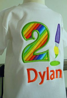 Birthday Art Party TShirt Customized and Monogrammed by Sew Jewell