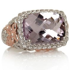 Victoria Wieck 2-Tone Pink Amethyst & White Topaz Ring with rose gold