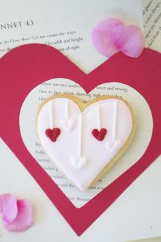 Dropped Heart Sugar Cookie for Valentine's Day. By Bake Sale Toronto