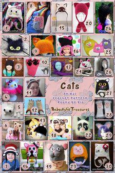 Cats Part 3 - Hats, Headbands & Fingerless Gloves | Animal Crochet Pattern Round Up via @beckastreasures