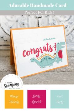 Adorable Congrats Card for Kids And Just Like That, Coordinating Colors, Card Kit, Free Paper, Diamond Pattern, Greeting Cards Handmade, Pattern Paper, Note Cards, Stamping