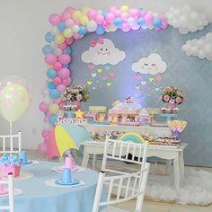 No photo description available. Rainbow Birthday, Rainbow Baby, Unicorn Birthday Parties, Baby Birthday, Birthday Party Themes, Girl Birthday Decorations, Girl Baby Shower Decorations, Baby Decor, Fondant Cupcakes