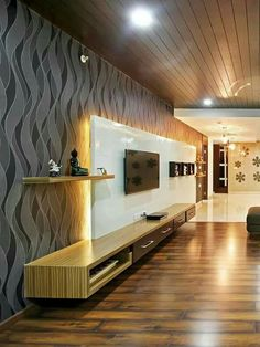 Modern Home Theater Room Interior with Flat Screen TV. Modern Home Theater Room . Tv Cabinet Design, Tv Unit Design, Tv Wall Design, Ceiling Design, Ceiling Ideas, Ceiling Trim, Modern Tv Units, Modern Tv Wall, Modern Room