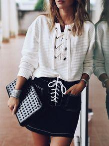 White Lace Up Front Sweatshirt -SheIn(Sheinside)