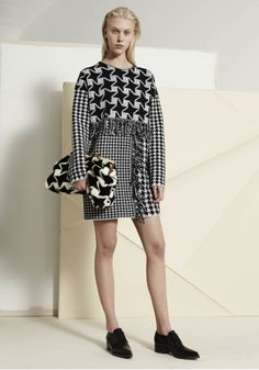 Dogtooth Mix Long Sleeved Dress, Beckett Alter Fur Clutch and Frankie Elastic Loafers. Autumn 2014 Look 28