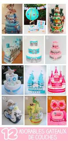 12 adorables gâteaux de couches pour une baby shower - Best Tutorial and Ideas Bricolage Baby Shower, Cadeau Baby Shower, Idee Baby Shower, Baby Shower Crafts, Baby Shower Diapers, Baby Shower Favors, Baby Shower Parties, Baby Shower Themes, Baby Boy Shower