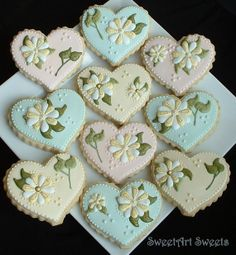 Pastel Flower and Heart Cookies