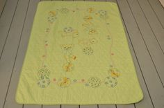 Vintage Hand Stitched Teddy Bear Quilt by whitepicket on Etsy, $32.00