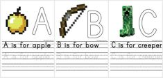 Free Minecraft alphabet printables | great tools for handwriting practice