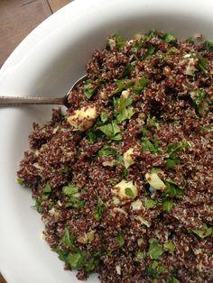 Red Quinoa Salad with Arugula, Artichoke Hearts and Olives
