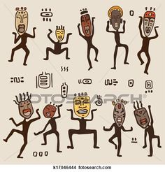 Dancing figures wearing African masks. View Large Clip Art Graphic