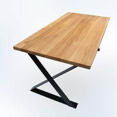 """Nowoczesny stół dębowy ALBACET zwraca uwagę harmonijnym kształtem podstawy. Profile nóg, przypominające formą literę """"X"""" zgrabnie uwypuklają piękno drewnianego blatu. Model łączący zamiłowanie do minimalizmu i subtelnych, geometrycznych form. Drafting Desk, Model, Furniture, Home Decor, Decoration Home, Writing Desk, Room Decor, Scale Model"""