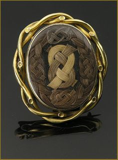 18Kt Gold Mourning Brooch Three Colors of Woven Human Hair