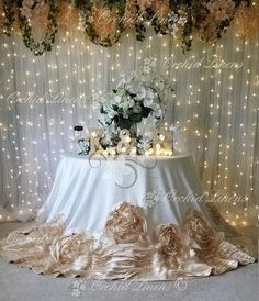 Wedding Cake Backdrop, Wedding Stage Decorations, Wedding Centerpieces, Wedding Table, Rustic Wedding, Rosette Tablecloth, Bride Groom Table, Tulle Table, Wedding Linens