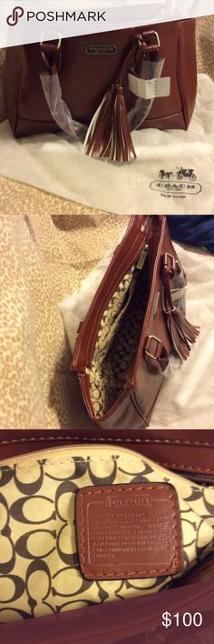Purse Coach purse knockoff 3rd pic shows misspelling on inside tag everything else perfect. Dark brown tassels on front Coach Bags Shoulder Bags