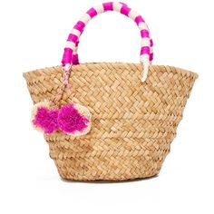 Kayu Mini St Tropez Tote (€53) ❤ liked on Polyvore featuring bags, handbags, tote bags, handbags totes, mini purse, tote handbags, straw tote and straw tote handbags