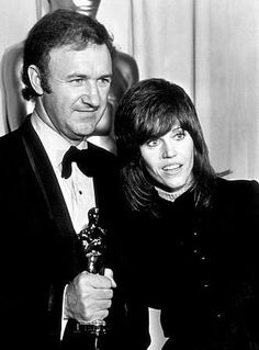 """Gene Hackman and Jane Fonda are awarded for their performances in """"The French Connection"""" and """"Klute"""", respectively, at the 1972 Acadamy Awards."""