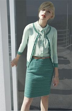 Halogen® Cardigan, Shirt & Skirt #Nordstrom #work